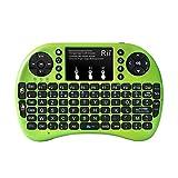 Rii Mini i8+ Wireless (AZERTY) - Mini Clavier Française Rétro-éclairé Ergonomique sans Fil avec Touchpad - Pour Smart TV, mini PC, HTPC, Console, Ordinateur (Vert)