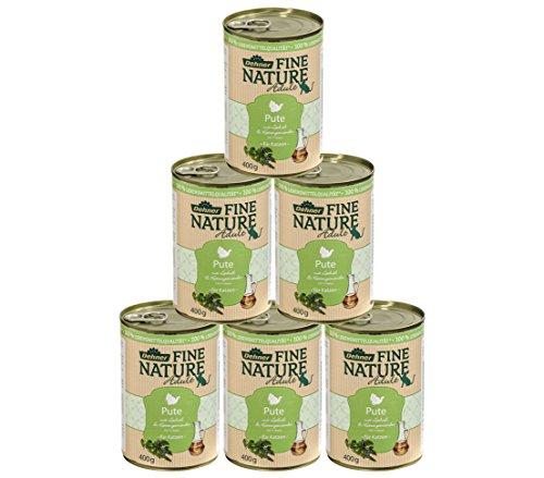 Dehner Fine Nature Katzenfutter Adult, Lebensmittelqualität, Pute, 6 x 400 g (2400 g)