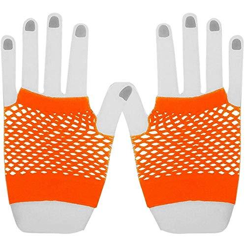 YANODA Frauen Sommer Bonbonfarben Net Handschuhe Ohne Finger Lady Disco Dance Kostüm Lace Fingerless Mesh Fishnet Handschuhe (Color : Orange) (Lace Mesh Kostüm)