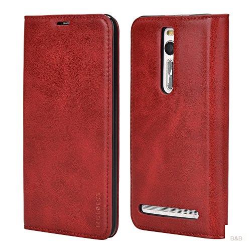 Mulbess (Slim Style) Premium Handy Schutzhülle Ledertasche im Kartenfach für ASUS ZenFone 2 (5.5 Zoll) Tasche Hülle Leder Etui Schale,Rot