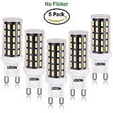 LEDGLE Bombillas LED G9 6W, 60W Bombilla Halógena equivalente, Blanco cálido 2800k, 420LM, 54x SMD 2835, Pack de 5