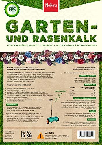 Natura Germania Bio Rasenkalk & Gartenkalk 15KG, für Rasen, Pflanzen, Blumen und sogar für die Biotonne, Granulat, Kohlensaurer Kalk für Garten (reguliert den PH-Wert des Boden, auch gegen Moos)