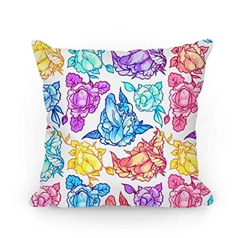 fengxutongx FLORAL Penis Pattern Rainbow Pillow Throw Pillow