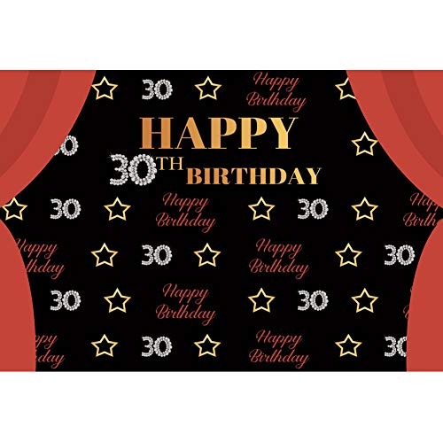 YongFoto 2,2x1,5m Vinyl Foto Hintergrund 30 Happy Birthday Banner Herzlichen Glückwunsch zum Geburtstag Tafel Vorhang Fotografie Hintergrund für Photo Booth Party Fotostudio Requisiten (30. Geburtstag Party Banner)