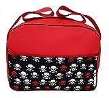 Maxi bolso para carrito, bolsa para carro de bebé en ecopiel impermeable. Modelo Calaveras rojo