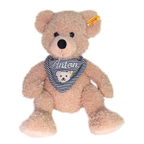 Steiff Teddybär Fynn mit Wunschnamen auf Steiff Collection Halstuch marine bestickt 40 cm 111679 + 6600