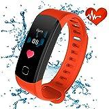 Rastreadores de fitness con pantalla en color, Rastreador Inteligente a prueba de agua con Bluetooth ALANGDUO con monitor de ritmo cardíaco para Android y podómetro de actividad con iOS con pantalla a color para adultos Niños, Rojo