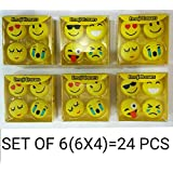 MSGH Smiley/Emoji Erasers For School Going Kids/Birthday Party Return Gift Pack OF 6 (6 X 4 = 24 Pcs) + 6 Pcs Thankyou Card Free (24)