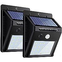 ZEEFO Confezione 2 Lampade Solari da Esterno 20 LED, 3 Modalità Sensore di Movimento Lampade con Illuminazione Grandangolare, Luci Wireless di Sicurezza Resistenti all'Acqua per Parete, Giardino