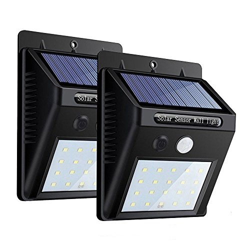 ZEEFO 2Pack 20 LEDs Solarleuchten für Aussen, Superhelle 3 Modi Solarleuchte Garten, Solarlampe für Wände, Auffahrt Innenhof,Hof,Flur,Veranda (Sensor Wand Licht)