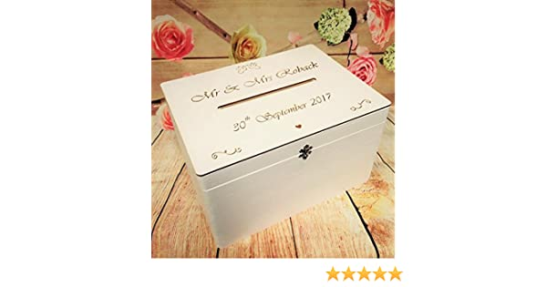 White Wedding Guests Wish With A Latch Post Box Wooden Box With Slot