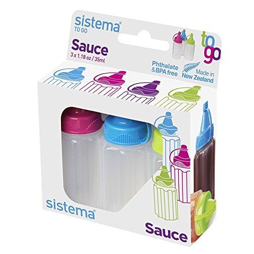 Sistema Soßen-Flasche to Go 3 Stück in grün/pink/blau, Plastik, 10 x 3.5 x 8.5 cm, 3-Einheiten