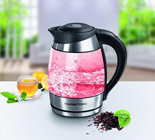 gourmetmaxx 09861 Glas Wasserkocher mit Temperaturwahl | LED-Farbwechsel | 2200 Watt | Edelstahl | Wasserkessel | Wassererhitzer | Kessel | Heißwasserkocher - 8