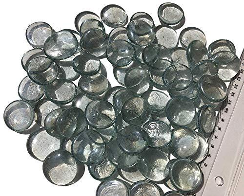 CRYSTAL KING Mischung transparent weiß Glassteine Nuggets 3,5cm 750g Dekokugeln Flach Glasdeko Glaskügelchen Tischdekoration Vasendeko Füllung Glassteine bunt