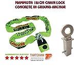 Moto Seguridad Mammoth Thatcham locm0071,8m Cadena antirrobo y resistente de hormigón de anclaje en el suelo