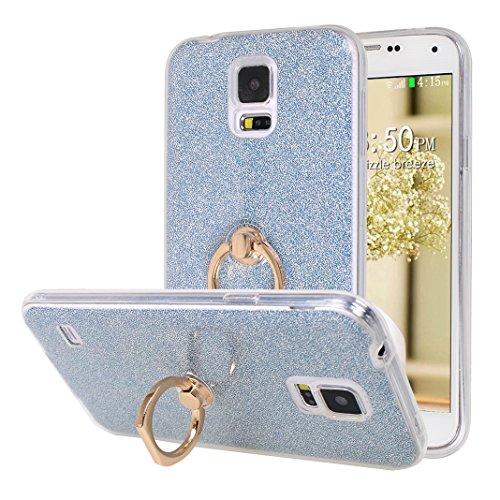 Galaxy S5 Neo Hülle Ring, Moon mood 2in1 Hybrid Hülle mit 360°drehbar Kickstand Finger Griff Halter Hülle für Samsung Galaxy S5 Neo S5 I9600 Durchsichtige Transparente Silikon TPU Weich Handy Cover -