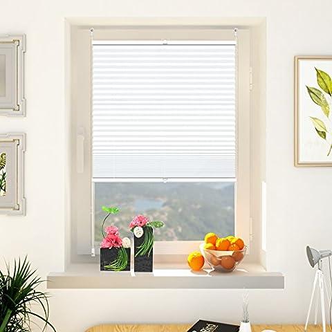 Plissee ohne Bohren, 65x120cm Plissee-Jalousie leicht zu montieren & verspannt mit Klemmfix für Fenster & Tür, Sichtschutz ohne Verdunkelung-
