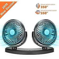 COMLIFE Ventilateur à Double Tête Rotatif Ventilateur USB avec 3 Vitesses Ajustables, Ventilateurs de Refroidissement Silencieux pour Véhicule, Bureau ...