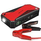 600A 18000mAh Tragbare Auto Starthilfe, Autobatterie Anlasser, Externes Akku-Ladegerät mit LED Taschenlampe, Kompass, LCD Display und für Laptop, Smartphone, Tablet und Vieles Mehr (Schwarz/Rot)