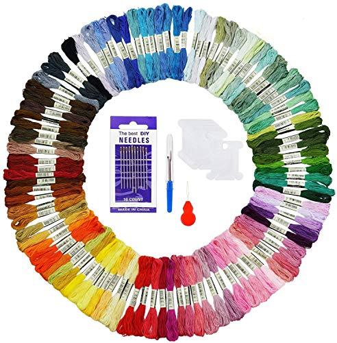 AUERVO Stickgarn, Embroidery Floss Multifarben Weicher Polyester 8m 6-Fädig Bunt für Kreuzstich Basteln Freundschaftsbänder mit Threads Nähgarne Häkeln