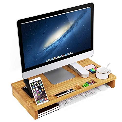 SONGMICS Monitorständer aus Bambus, PC-Ständer, für den Laptop, mit Stauraum, 60 x 8,5 x 30,2 cm, naturfarben LLD201