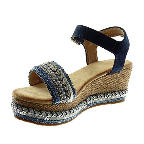 Angkorly Scarpe Moda Sandali Mules con Cinturino Alla Caviglia Zeppe Donna Perla Tanga Intrecciato Tacco Zeppa Piattaforma 7 cm Blu