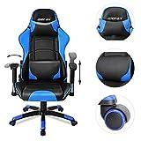 Merax Gaming Stuhl Racing Stuhl Chefsessel,Drehstuhl PU mit Kunstlederbezug & lendenkissen/verstellbare Armlehnen & Rückenlehne/Schwarz-Blau