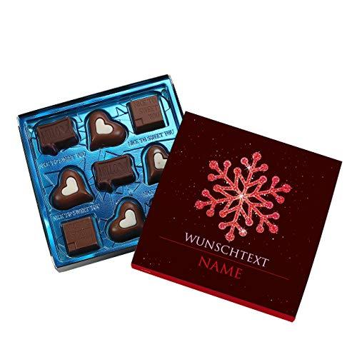 Lindt Hello Pralinés mit weihnachtlichen Banderole - Schneeflocke - mit Namen und kurzem Wunschtext