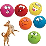 Coomir 6 Unids/Set Pet Cat Dog Dog Dientes Squeaker Ball Puppy Squeaky Sound Face Fetch Jugar Juguete