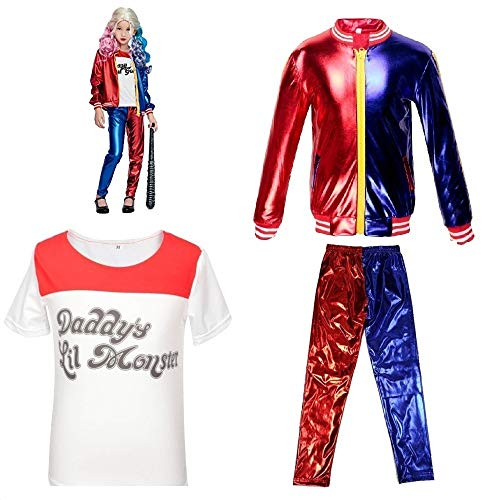 Kinder Mädchen Kleidung Selbstmord Squad DC Comics Cosplay Harley Quinn Fancy Dress Film Party (9-10 Years(140cm-150cm Child))