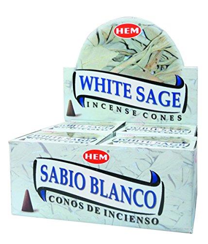Saum und weißer Salbei Incence Zapfen Full Tasche - 12 x 10er-Set (Tasche Salbei)