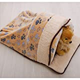 Cuteco Cat Sleeping Bag Warm Soft Puppy Cat Cave Igloo Self-Warming Sack (M, brown)