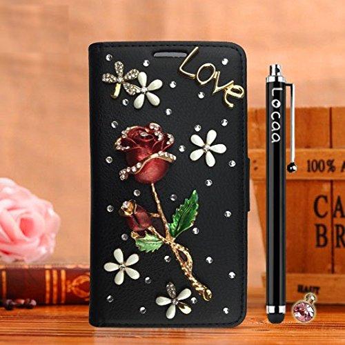 Locaa(TM) Pour Apple IPhone 6 IPhone6 4.7 inch 3D Bling Rose Case Coque Étui Fait Love Cuir Qualité Housse Chocs Couverture Protection Cover Shell Etui For [Rose 1] Rouge - Rose Vin Rouge Noir - Rose Vin Rouge