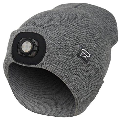 Mütze-Beanie Farbe grau mit LED Licht/Lampe Unisex, OneSize, 3 Stufen dimmbar, waschbar, Lampe entnehmbar | für Camping und Arbeiten im Dunkeln | Marken Qualität von Gorilla -