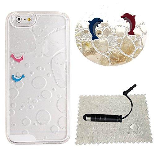 Cover iPhone 6 Plus Transparente,TOCASO Blu Crystal Clear Bling Sparkles Glitzer 3D Hard Plastic Case Apple iPhone 6s Plus 5.5 Stella Brillare Cassa Dura del Telefono Copertura Tacsa Custodia Caso Cov Transparent,Dolphin,Clear