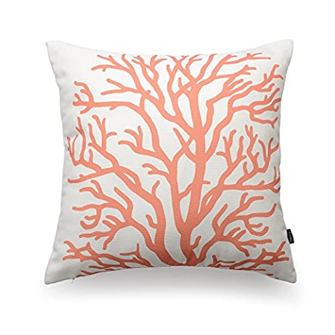 Hofdeco Decorative Throw Pillow Cover Ivory Case Coral Canvas Cushion Case 18x18 Inches