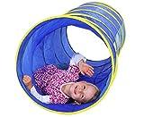 Kriechtunnel 180 cm Länge, Pop-Up-Effekt - 60 cm Durchmesser, lichtdurchlässiger Netzeinsatz, blau, gelb - Tunnel Kinder krabbeln Krabbeltunnel Spietunnel spielen Krabbeltonne Kinderspieltunnel