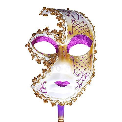 QTJKH Horror Maske Venezianische Maskerade Frauen Party Maske Venedig Masken Festliche Maskerade Maske Weihnachten Venezianische Kostüme Handheld Art Collection @ C