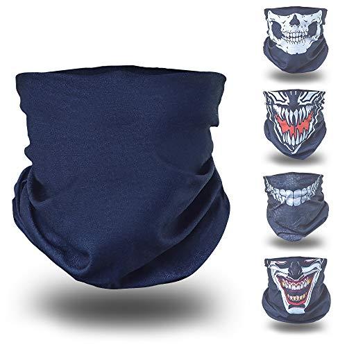 BlackNugget ® Bedrucktes Multifunktionstuch mit ausgefallenem Design - Hochwertige Sturmhaube als Wärm- und Schutztuch - Halstuch, Face Shield, Gesichtsmaske - Schwarz