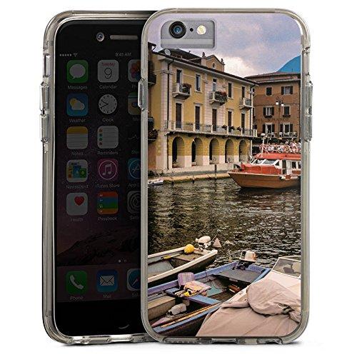 Apple iPhone 7 Bumper Hülle Bumper Case Glitzer Hülle Venedig Venice Fluss Bumper Case transparent grau