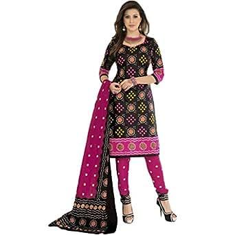 Sonal Trendz Black Cotton printed Bandhani Dress Material Suit