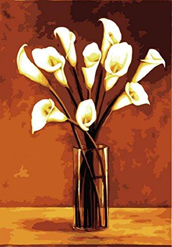 PaintingStudio bianco Calla Fiore in vaso pittura a olio di DIY dal kit numero tela (Calla Kit)