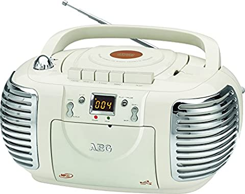 AEG 400688 Retro-Stereokassettenradio mit CD/MP3/USB mit Kassettenplayer, AUX-IN, LCD-Display crème
