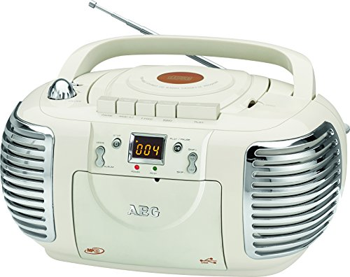 AEG NSR 4377 Retro-Stereokassettenradio mit CD/MP3/USB mit Kassettenplayer, AUX-IN, LCD-Display crème Stereo-cd-mp3