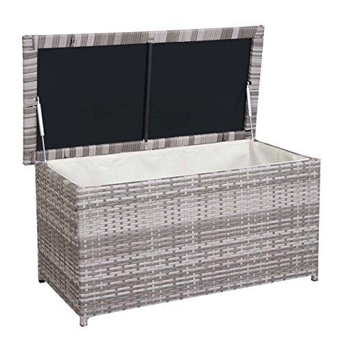 Mendler Poly-Rattan Kissenbox HWC-D43, Truhe Auflagenbox Gartentruhe, 51x115x58cm 220l ~ grau