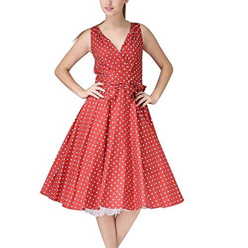 WintCO Damen Rockabilly Audrey Hepburn Stil Midikleid mit Punkte Polka Dots V-Ausschnitt Rueckenfreie Partykleid Rot