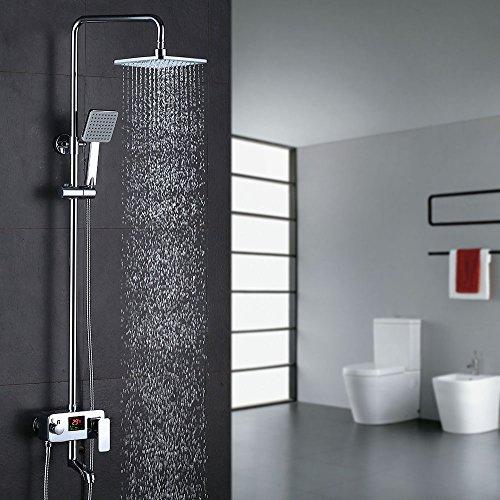 Homelody Duschsystem Drei-Funktionen-Duscharmatur mit LCD Wassertemperatur-Displayanzeige,Duschset mit Regendusche Handbrause Rainshower und Armatur für Duschen