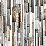 murando - PURO TAPETE - Realistische Holzoptik Tapete ohne Rapport und Versatz 10m Vlies Tapetenrolle Wandtapete modern design Fototapete - Holz Bretter Parkett grau braun f-A-0083-j-b