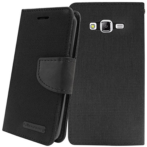 DW Canvas Dairy Mercury Fancy Diary Card Wallet Flip Case Back Cover for Samsung Galaxy Grand-2 G7106/G7102 (Black)