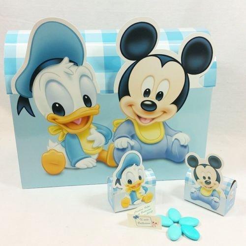 Bomboniera walt disney portaconfetti bauletto con 48 pezzi topolino paperino confettata completa di confetti piu' bigliettino